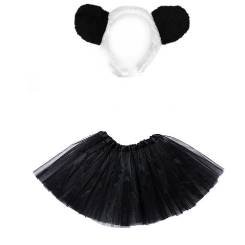 Girl Panda Headband Tutu Skirt Set