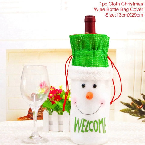 Christmas Wine Bottle Cover, Table Decoration, Christmas Hats, and Santa Claus Bottle Cover