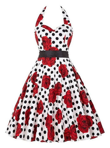 Polka Dots Hepburn Pin Up Rockabilly Dress