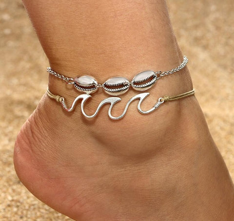 Braided Wave with Shell Anklet