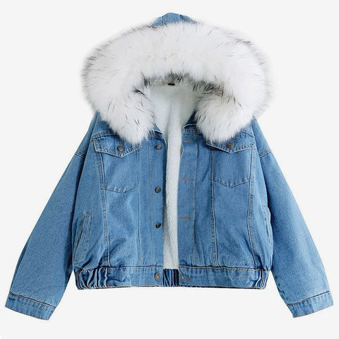 Denim Coat Hooded with Faux Fur