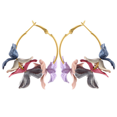 Fabric Flower Drop Earrings