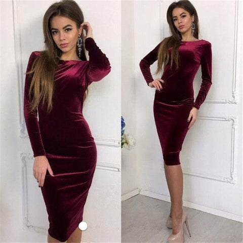 Velvet Stretch Midi Dress
