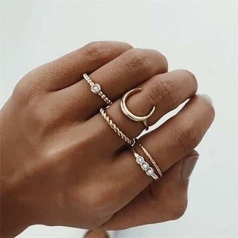 Gold Crescent Geometric Crystal Ring