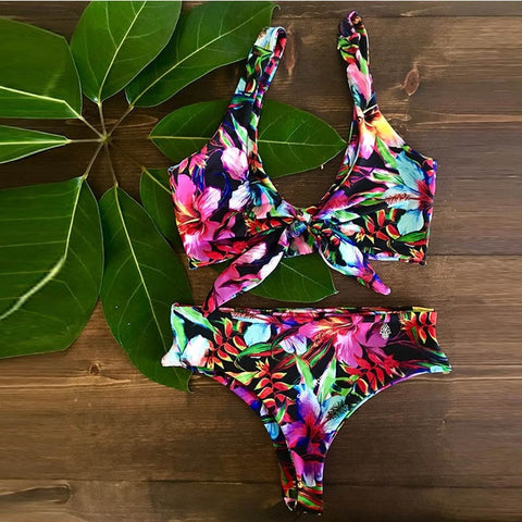 Floral front-knot swimsuit