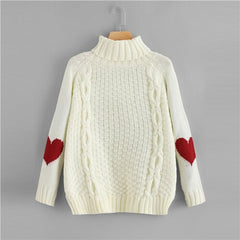 Beige High Neck Heart Print Jumper