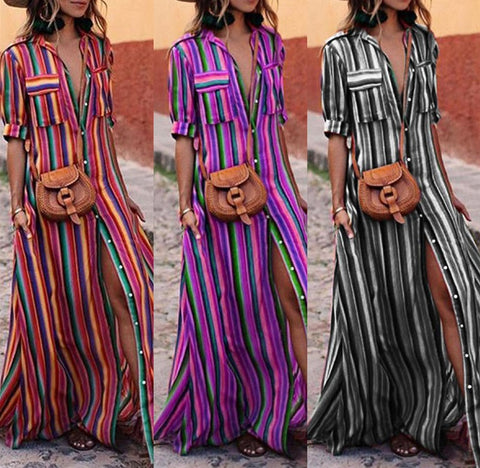 Striped retro Boho maxi