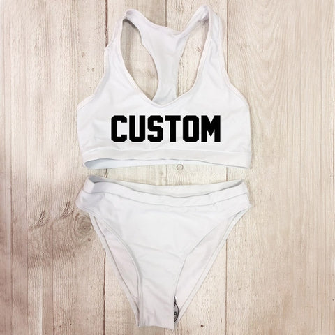 Custom text High Waist Brazilian Bikinis