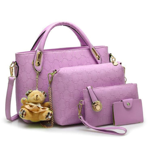 4 Set PU Leather Fashion Designer Handbag