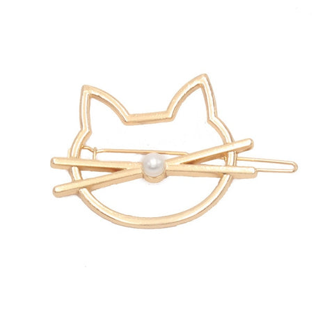 Cute Cat Imitation Pearl Hairpin