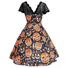 O-neck Lace elegant pumpkin Swing dress