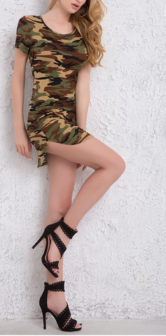 Green Camouflage Print Mini Dress