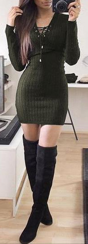 Sexy V-neck Knitted Wrap Pullover