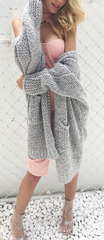 Casual knitting long cardigan