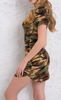 Image of Green Camouflage Print Mini Dress