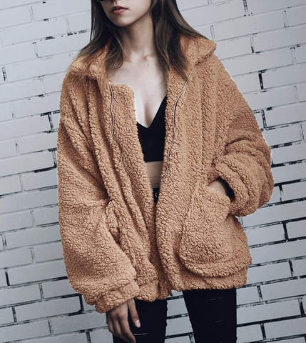 Fluffy Shaggy Faux Fur Coat