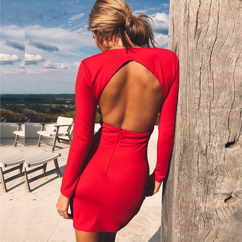 V Neck Backless Body-con