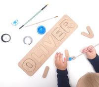 Personalised Wooden Name Puzzle Paint Your Own Name Board