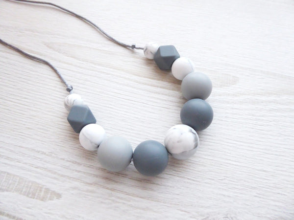 Teething Necklace Grey Marble - Porridgekid