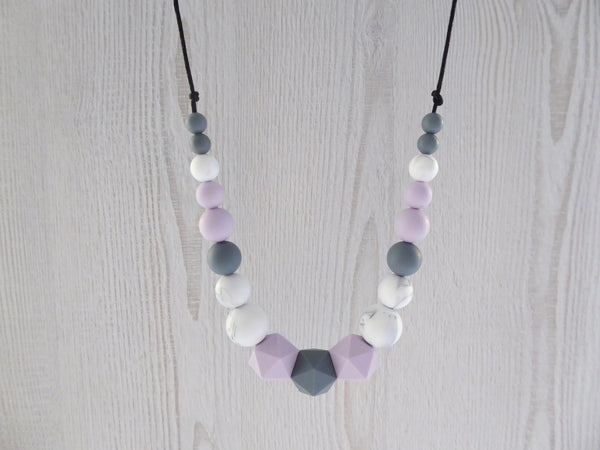 Nursing Necklace Lilac Grey Marble - Porridgekid