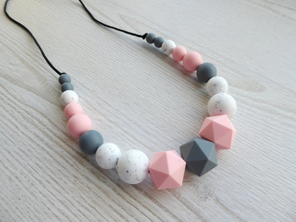 Nursing Necklace Rose Grey Gritty - Porridgekid