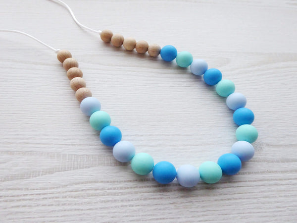 Teething Necklace Blue Wooden Beads - Porridgekid