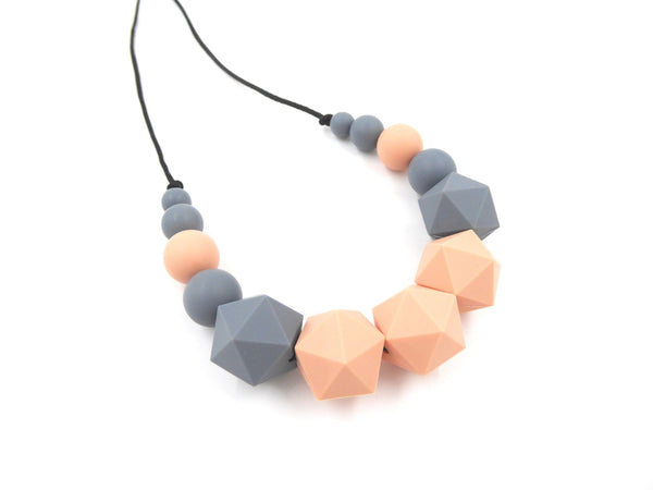 Nursing Necklace Peachy Grey - Porridgekid