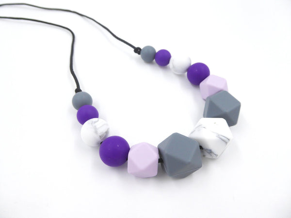 Nursing Necklace Purple Marble Gray - Porridgekid