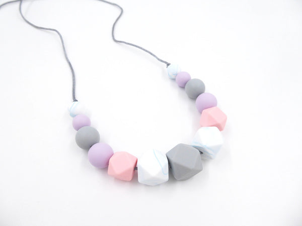 Nursing Necklace Lilac Rose Grey - Porridgekid