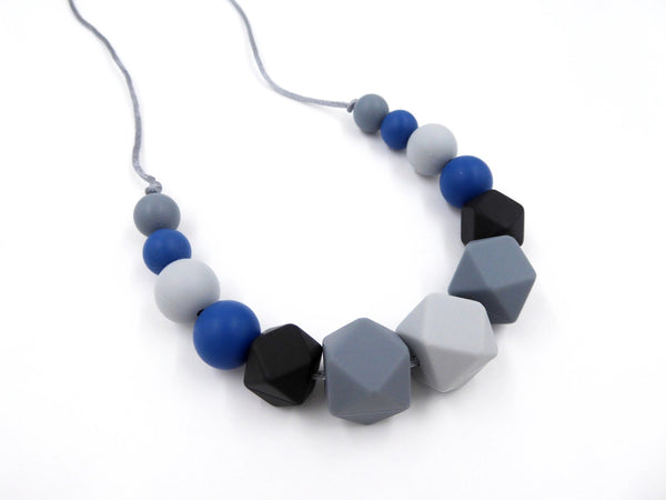 Nursing Necklace Gray Black Blue - Porridgekid