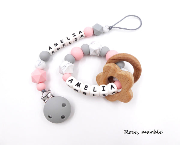 Silicone Personalised Teething Set With Pacifier Clip And Teether Porridgekid