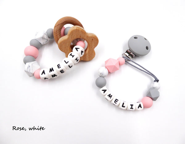 Porridgekid Silicone Personalised Teething Set With Pacifier Clip And Teether