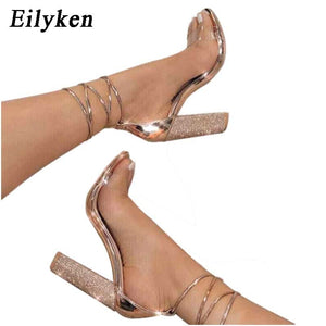 103ff9ae3d5 New Fashion Women Sandals Ankle Strap high Heels PVC Clear Crystal Sandals