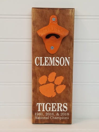 Magnetic Bottle Opener - Wooden Laser Engraved - Clemson Tigers - Groomsman gift -Graduation Gift - Man Cave - Cutting Edge Lazer