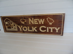 Engraved Sign - Chicken Coop - New Yolk City - Cutting Edge Lazer