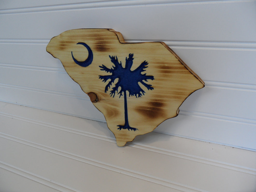 Engraved Sign - SC State shape w/Palmetto Tree - Cutting Edge Lazer
