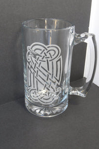 Celtic Glass Beer Mug - Groomsmen Gift - Engraved Beer Mug - Cutting Edge Lazer