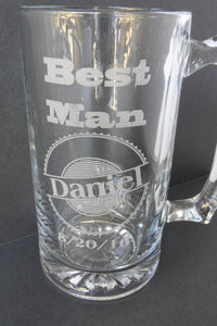 Best Man Glass Beer Mug - Groomsmen Gift - Engraved Beer Mug - Cutting Edge Lazer