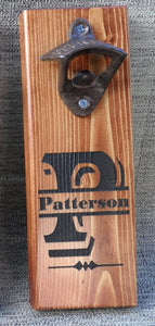 Magnetic Bottle Opener - Wooden -Initial & Name -  Monogram Laser Engraved - Groomsman gift - Father's Day gift - Graduation Gift - Man Cave - Cutting Edge Lazer