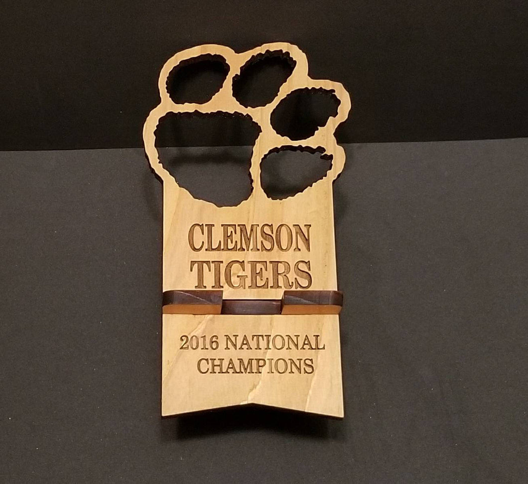 Clemson Tigers CellPhone Stand - Wooden Cellphone Stand - Laser Cut and Engraved Clemson Tigers 2018 National Champions - Cutting Edge Lazer