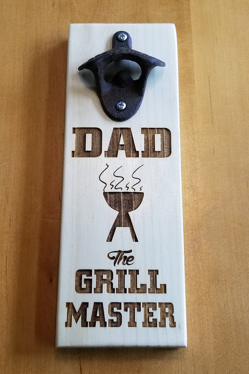 Magnetic Bottle Opener - Wooden - Laser Engraved - DAD The GRILL MASTER - Groomsman gift - Father's Day gift - Graduation Gift - Man Cave - Cutting Edge Lazer