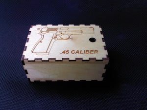 Ammo Box 45 caliber Wooden Laser cut - 25 round - Cutting Edge Lazer