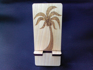 CellPhone Stand - Wooden - Laser Engraved - Palm Tree - Cutting Edge Lazer