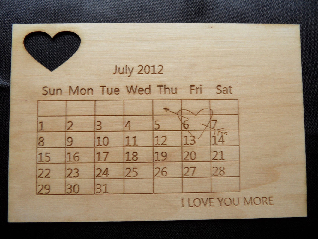 Wooden Anniversary or Save the Date Calendar Postcard - Cutting Edge Lazer
