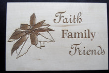 Wooden Christmas Postcard Faith Family Friends Poinsettia - Cutting Edge Lazer
