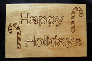 Wooden Christmas Postcard Happy Holidays Candy Canes - Cutting Edge Lazer
