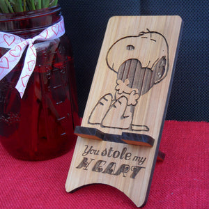Snoopy Cell Phone Stand - You stole my heart - Cutting Edge Lazer