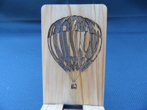 Hot Air Ballon Cell Phone Stand - Wooden - laser engraved - Personalize - Cutting Edge Lazer