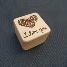 Wooden Ring Box - I love you w/heart laser engraved - Cutting Edge Lazer