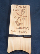 "Snoopy Cell Phone Stand -  ""Dance Like Nobody's Watching"" - Wooden - Laser Engraved - Cutting Edge Lazer"